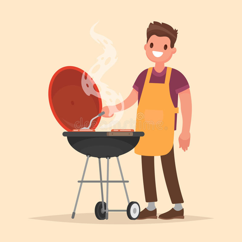 Man is cooking a barbecue grill. Fry meat and sausages on fire. stock illustration