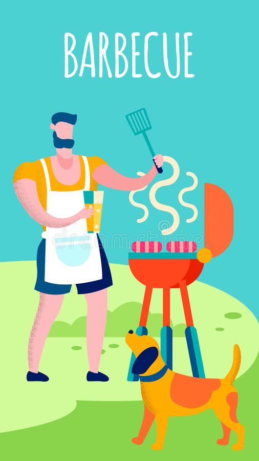 Man Cooking on BBQ Grill Flat Vector Illustration. Husband, Father Wearing Apron, Grilling Sausages. Boy and Dog Outdoors Cartoon Characters. Macho Preparing vector illustration