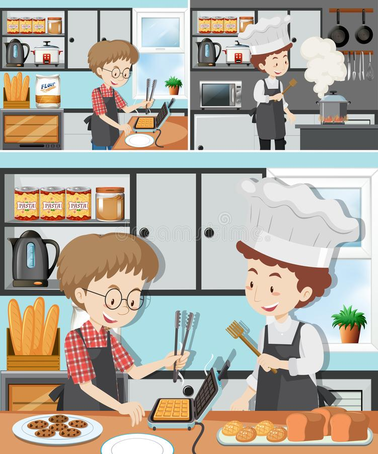 A Man in Cooking Class vector illustration
