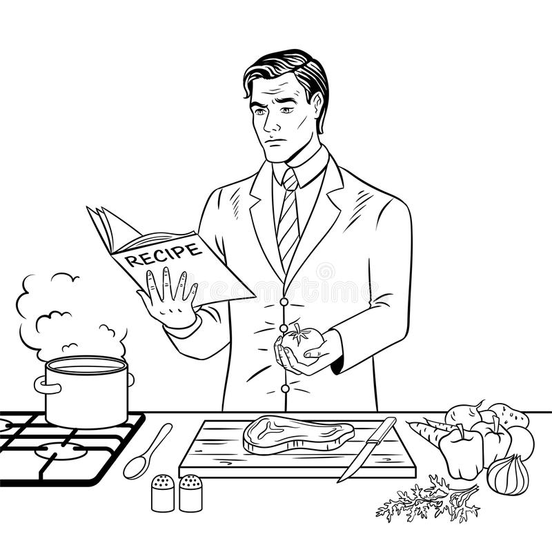 Man Cooking Food Coloring Book Vector Stock Vector - Illustration of ...