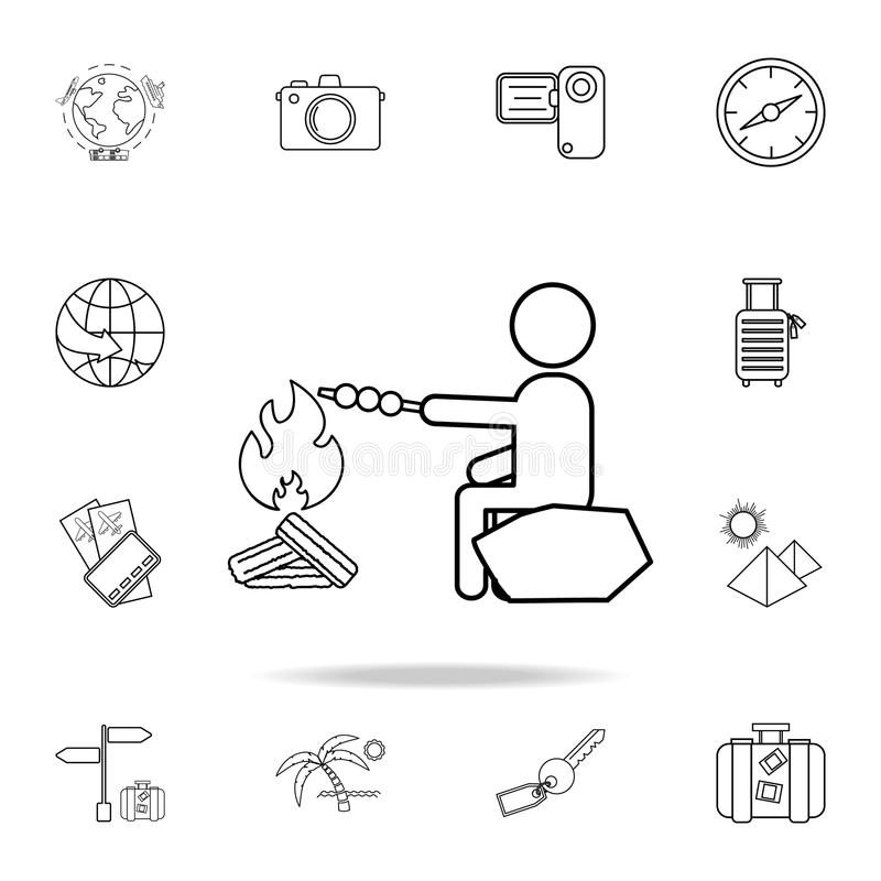 Man cooks at the stake line icon. Set of Tourism and Leisure icons. Signs, outline furniture collection, simple thin line icons fo. R websites, web design stock image