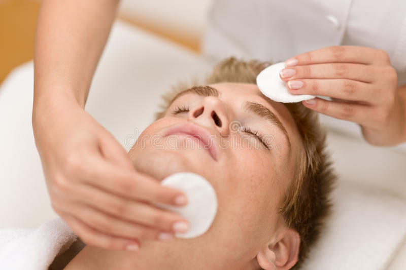 Man cosmetics - cleaning face treatment stock image