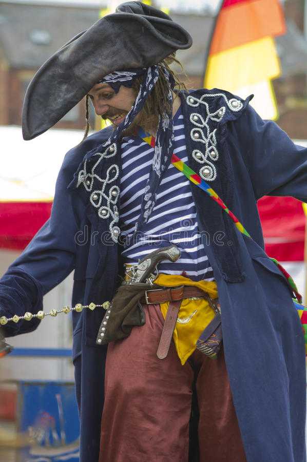 Man is costume as a pirate. stock photos