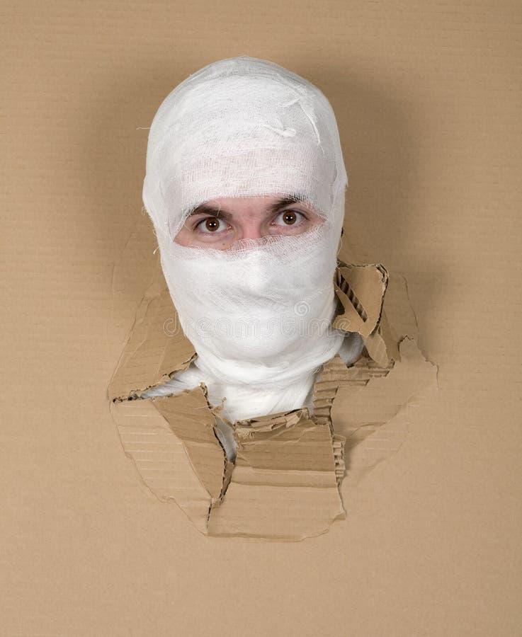 Man in costume mummy stock photography