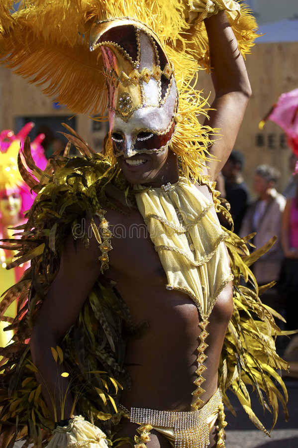 Man in costume nottinghill carnival london royalty free stock image