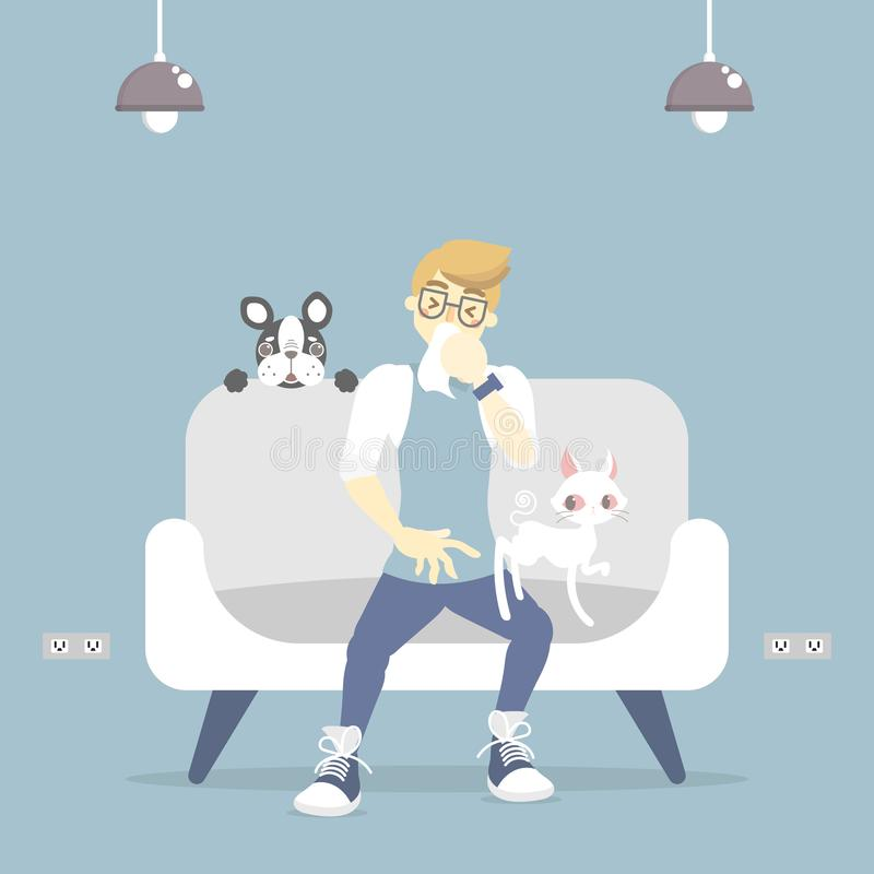 Man coughing, sneezing, having allergic to pet with cat and dog, fur and wool allergy concept. Flat vector illustration character design clip art stock illustration