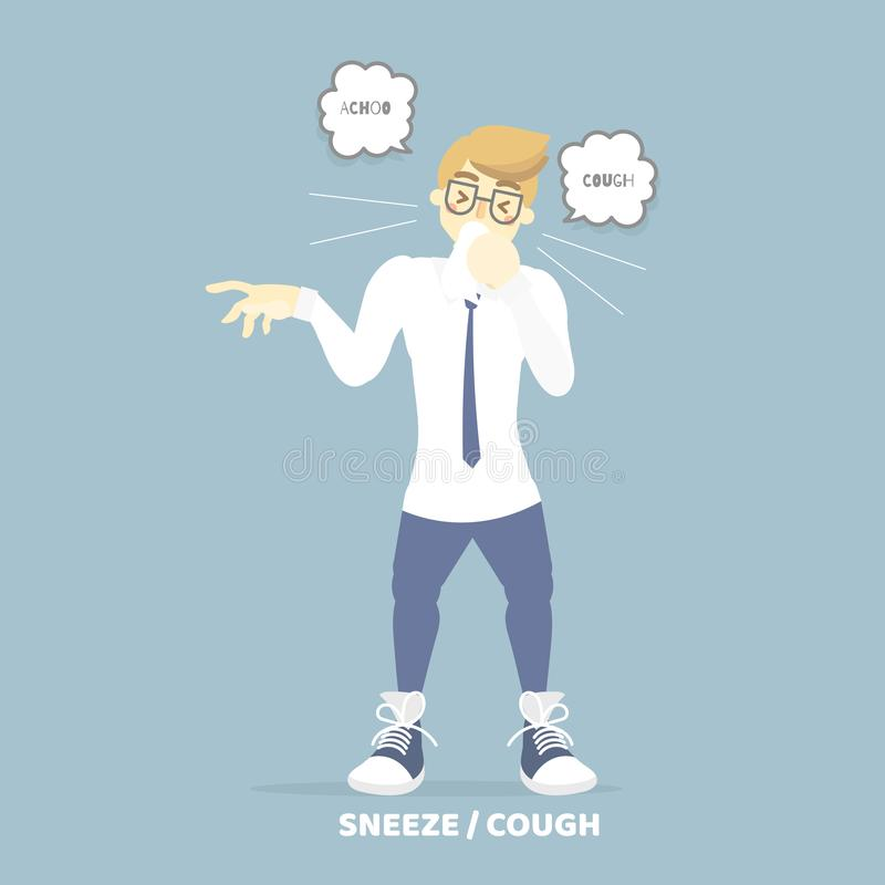 Man coughing sneezing, health care, pollen allergy, air pollution disease symptoms concept. Background,flat vector illustration cartoon character design stock illustration