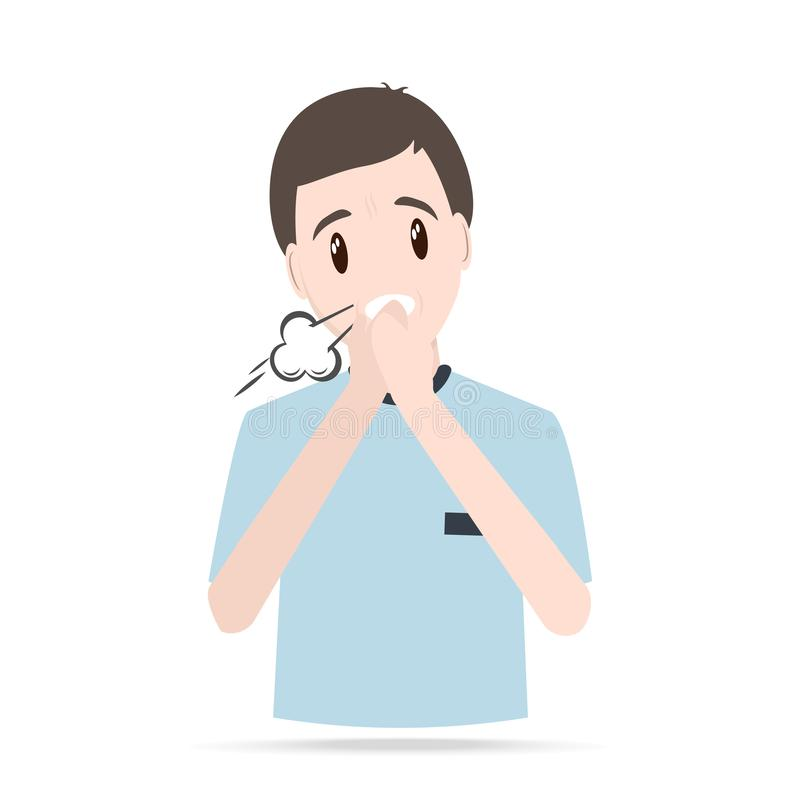 Man Coughing, sneezing icon. Medical concept stock illustration