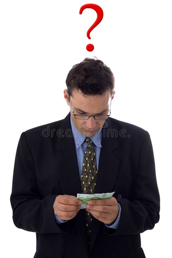 Man counting the money. Businessman counting money, unsure about something stock images