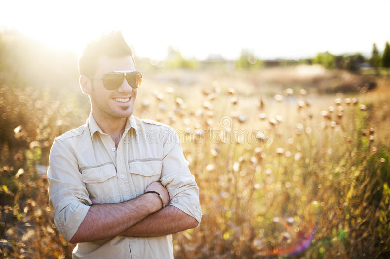 Man in the country. Man in country in summer day royalty free stock images