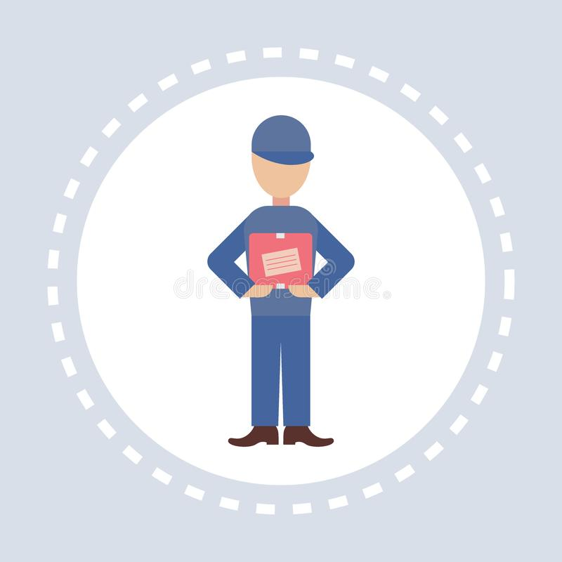 Man courier hold post stamp envelope mail address letter shopping icon paper correspondency delivery service concept royalty free illustration