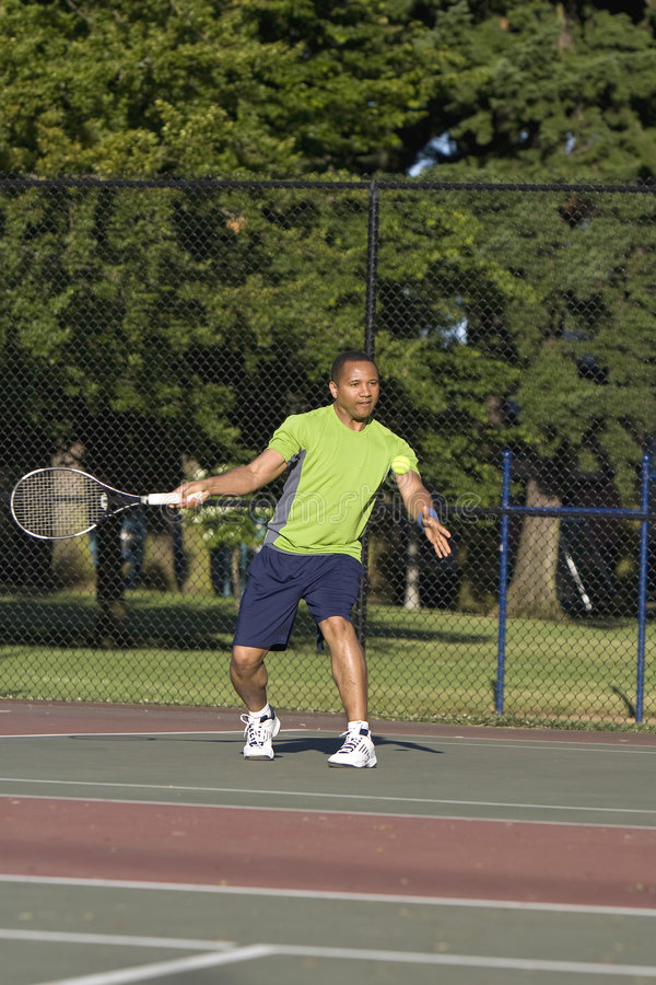 Download Man On Court Playing Tennis Stock Photo - Image: 5842570