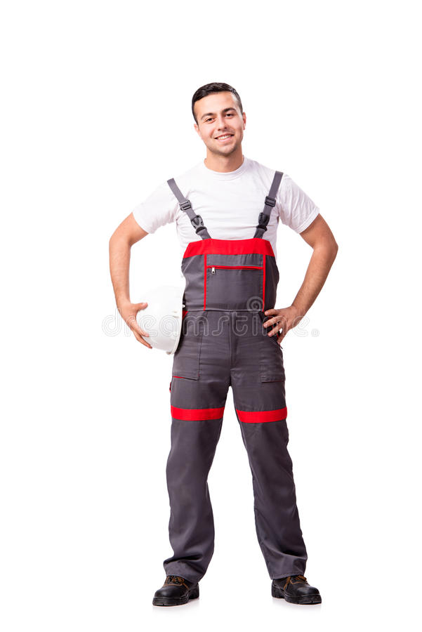 The man in coveralls isolated on white. Man in coveralls isolated on white stock photos