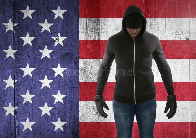 man with covered face against american flag vector illustration