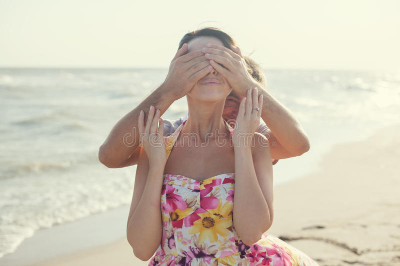 Man covering the eyes stock photos