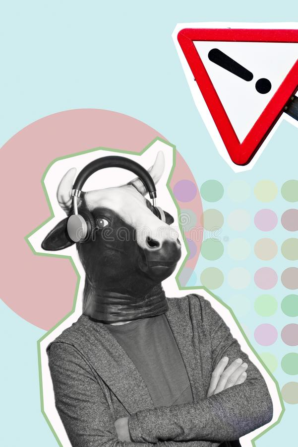 Man with a cow mask in a contemporary art collage royalty free stock photography
