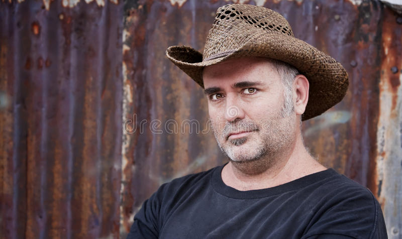 Download Man in Cowboy Hat stock image. Image of alone, smile, patch - 9911599
