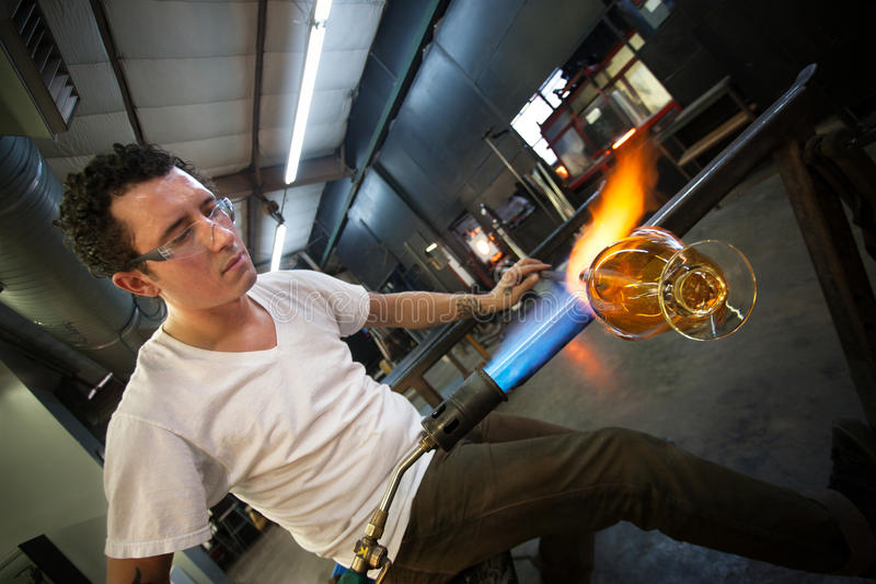 Man Creating Glass Object Stock Photos