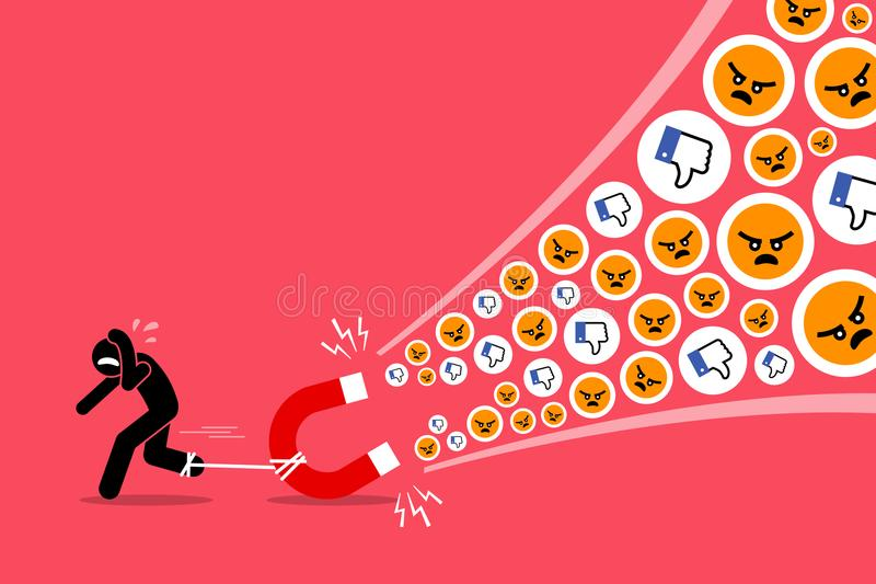 A man creating a lot of hates and dislikes on his social media. Vector artwork illustrations depict the concept of social media, hatred, angry, displease stock illustration