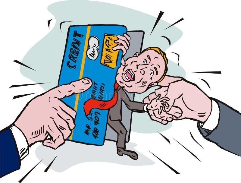 Man in credit card debt crunch stock illustration