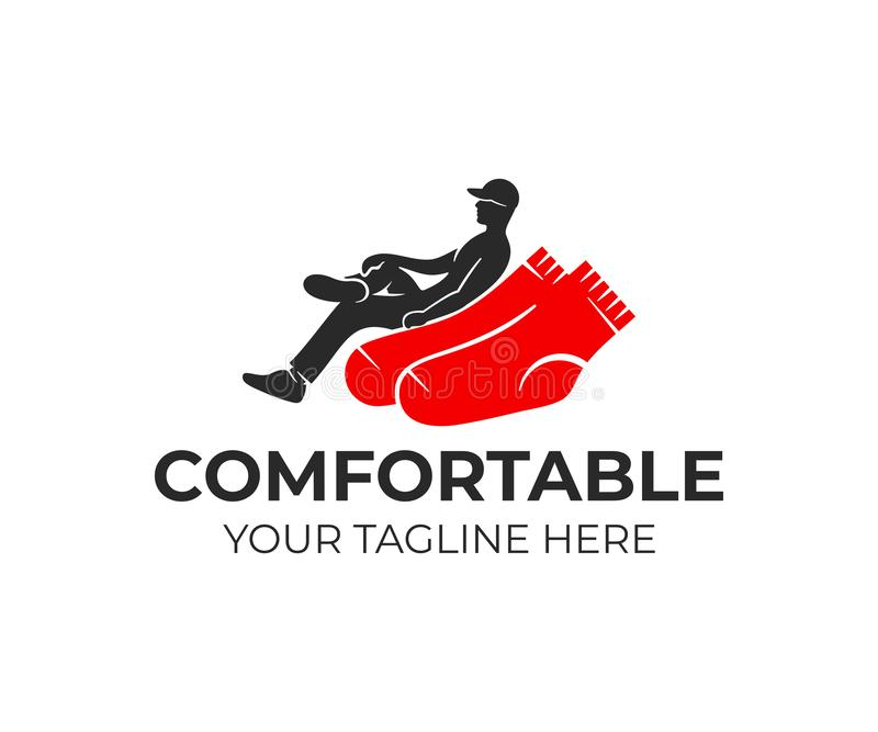 Man cross their legs sitting on socks like in armchair, logo design. Industry, industrial, clothes, apparel and textile industry, royalty free illustration
