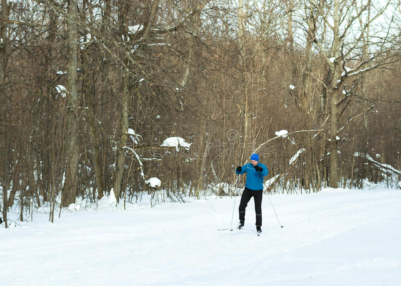 The man on the crosscountry skiing in winter forest. Ice ridge course skiing. Healthy lifestyle concept royalty free stock image
