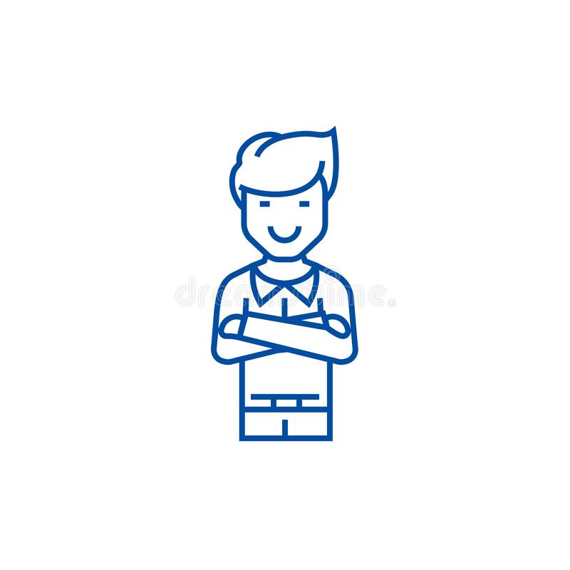Man with crossed arms  line icon concept. Man with crossed arms  flat  vector symbol, sign, outline illustration. vector illustration