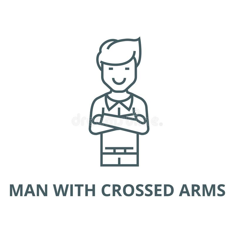 Man with crossed arms  vector line icon, linear concept, outline sign, symbol vector illustration