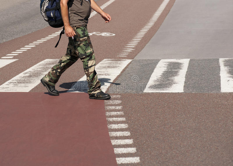 Download Man Crossing Street Royalty Free Stock Images - Image: 26214409