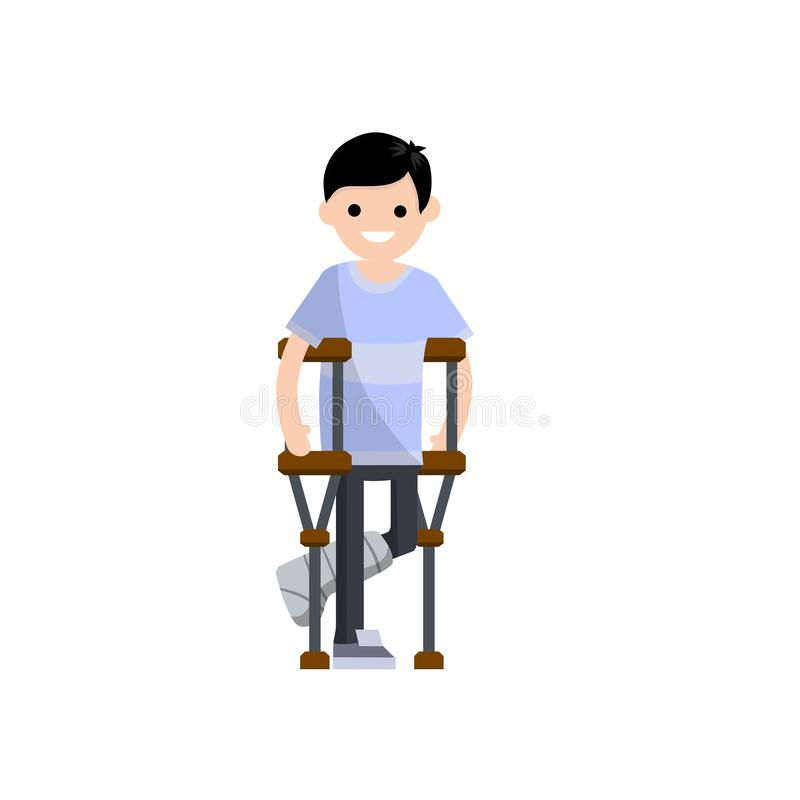 Man with broken leg. Cartoon flat illustration. Man on crutches. The need for Medical care. Hospital visit. Plaster and bandage on the leg. Sick guy with vector illustration