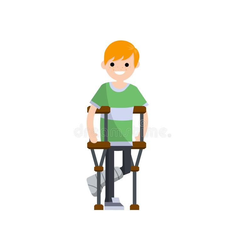 Man with a broken leg. Cartoon flat illustration. Man on crutches. The need for Medical care. Hospital visit. Plaster and bandage on the leg. Sick guy with royalty free illustration