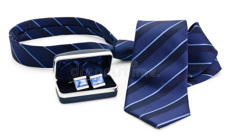 Man cuff links in box and tie  isolated