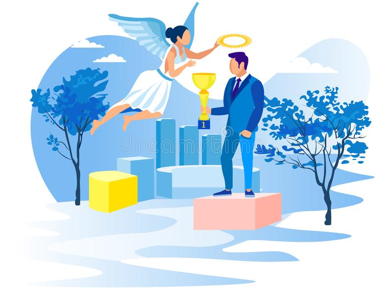 Man with Cup on Pedestal and Girl Angel. Vector. Man with Cup on Pedestal and Girl Angel. Achive Goal. Overcome Obstacles. Competition in Business. Successful stock illustration