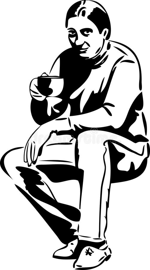 Man with a cup of tea drinkers vector illustration