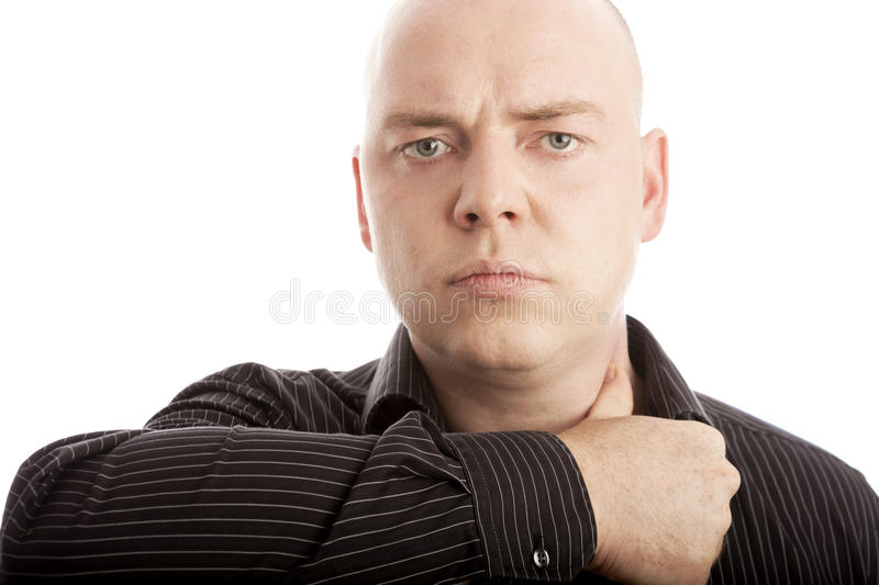 Man cut head off with thumb stock photography