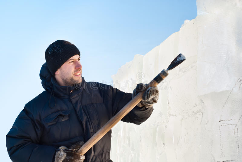 Download A man cut ice slab stock image. Image of december, cutter - 22427265