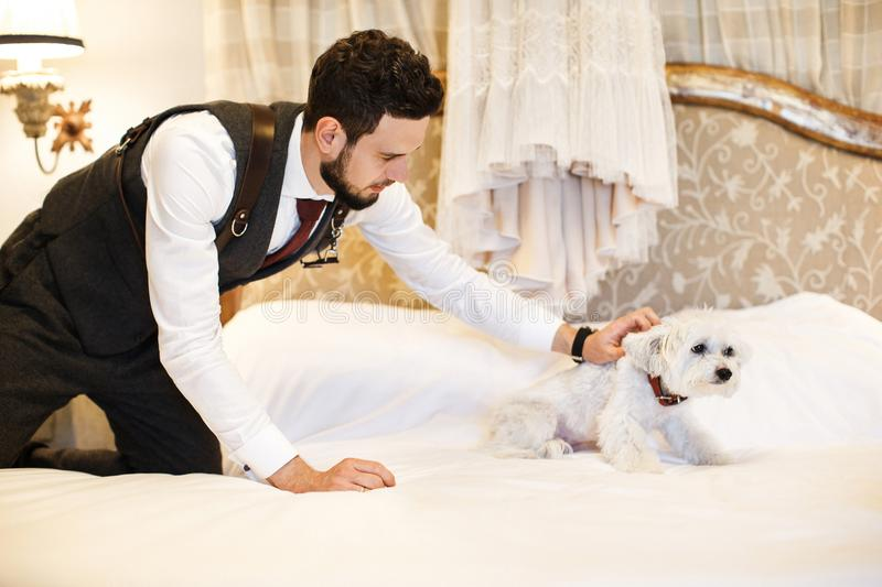 Man with cute white dog. Wedding dress hanging on the bed in the room stock photography