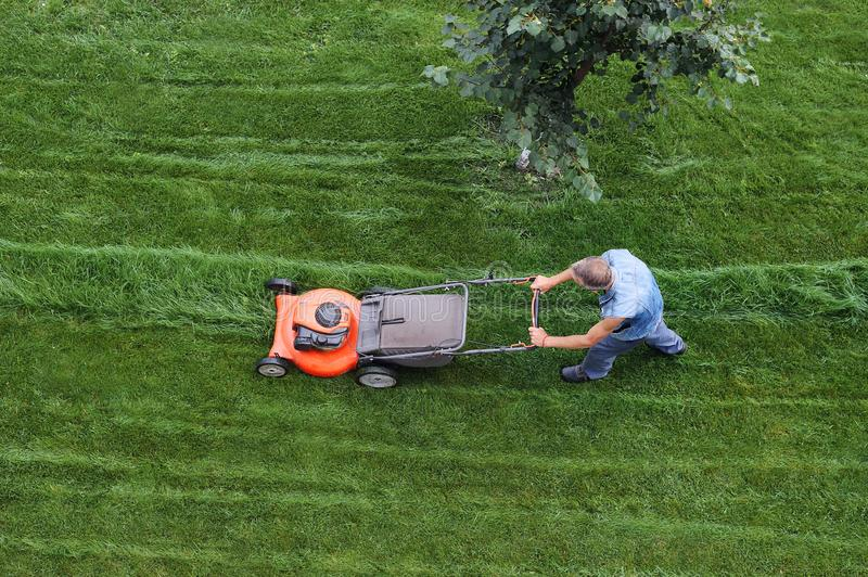 Man cuts the lawn. Lawn mowing. Aerial view lawn mower on green grass. Lawn mower mower. Mowing tool royalty free stock images