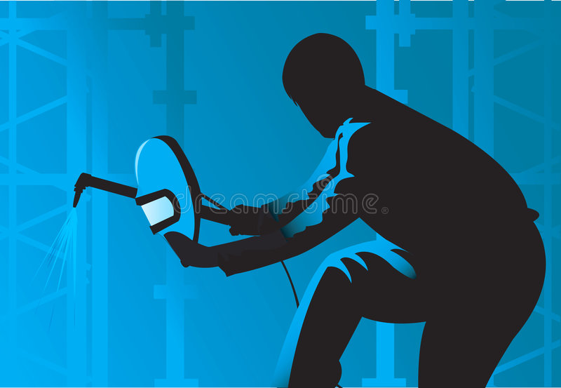 Download Man cutting metal pieces. stock vector. Image of pollution - 3646270