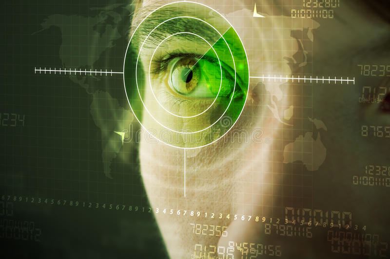 Man with cyber technology target military eye. Modern man with cyber technology target military eye concept stock photos