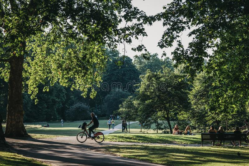 Man cycles on a path in a park in London, UK, in summer royalty free stock photos