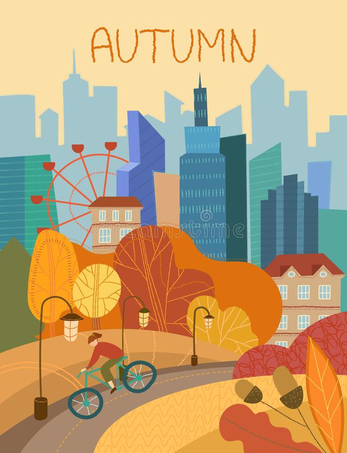 Man cycling through a city park in autumn with colorful orange foliage on the trees conceptual of the seasons stock illustration
