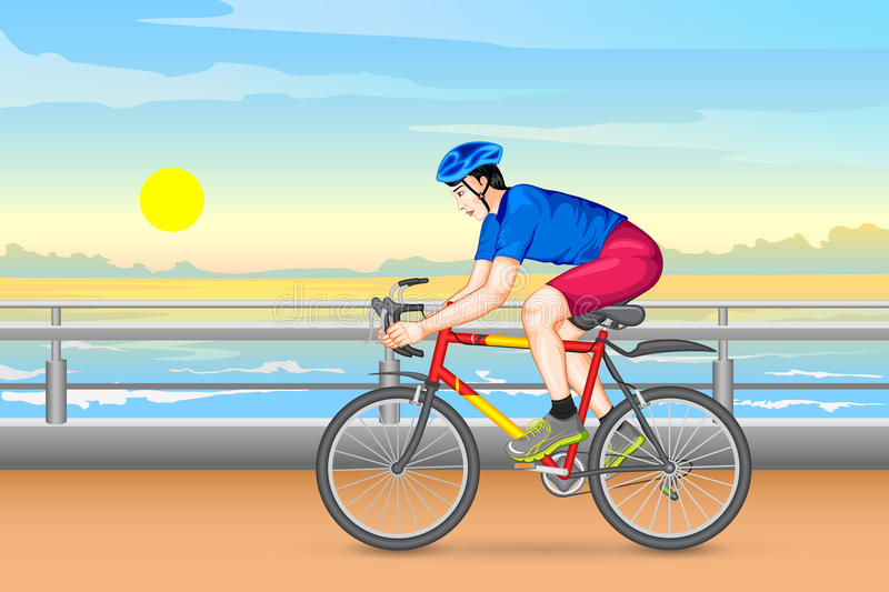 Man cycling for fitness. Vector illustration of man cycling for fitness vector illustration
