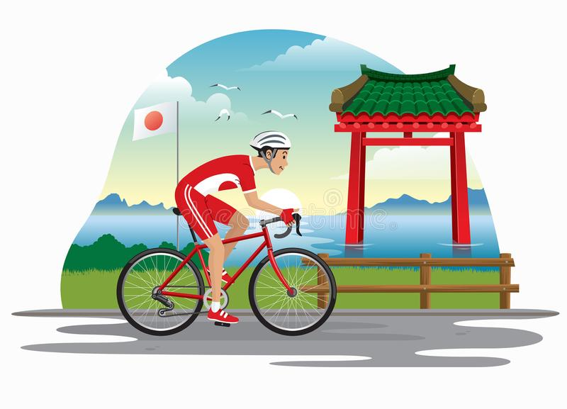Man cycling in japan with japanese gate as bakcground. Vector of man cycling in japan with japanese gate as bakcground stock illustration
