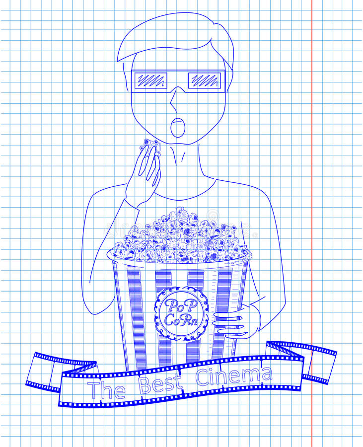 Man in 3D glasses eating delicious popcorn from a big striped c. Arton box. Reel of film with inscription. Drawn in pen stock illustration