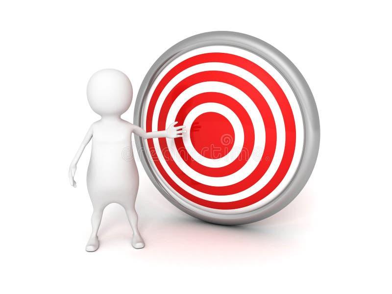 man 3d med det röda målet på vit bakgrund vektor illustrationer