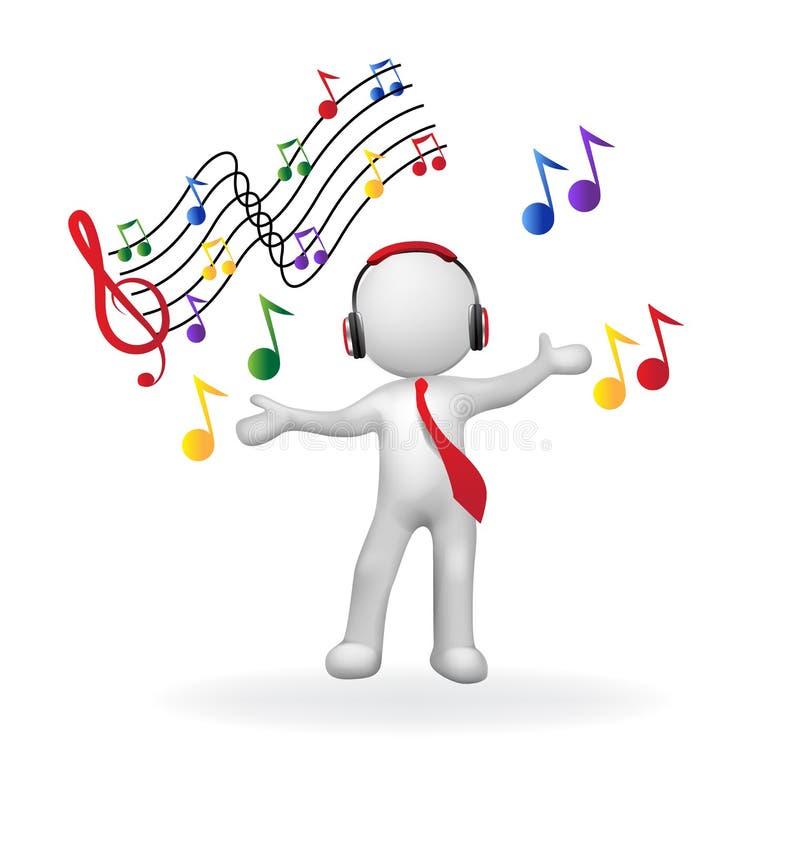man 3D med lyssnande musiklogo för hörlurar stock illustrationer