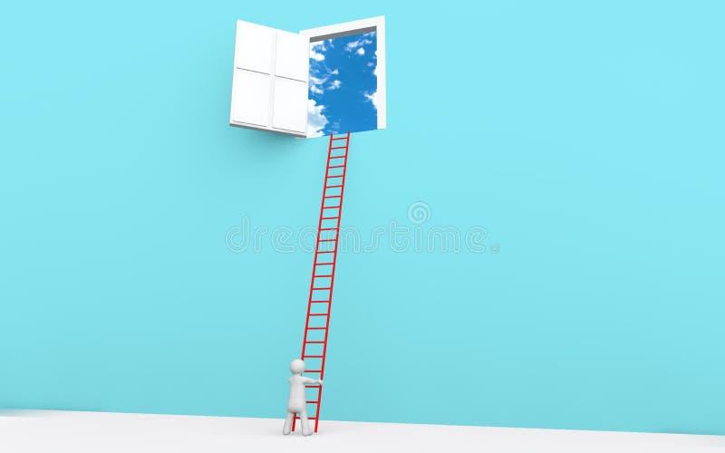 man 3d med stegen till en dörr i himmel stock illustrationer