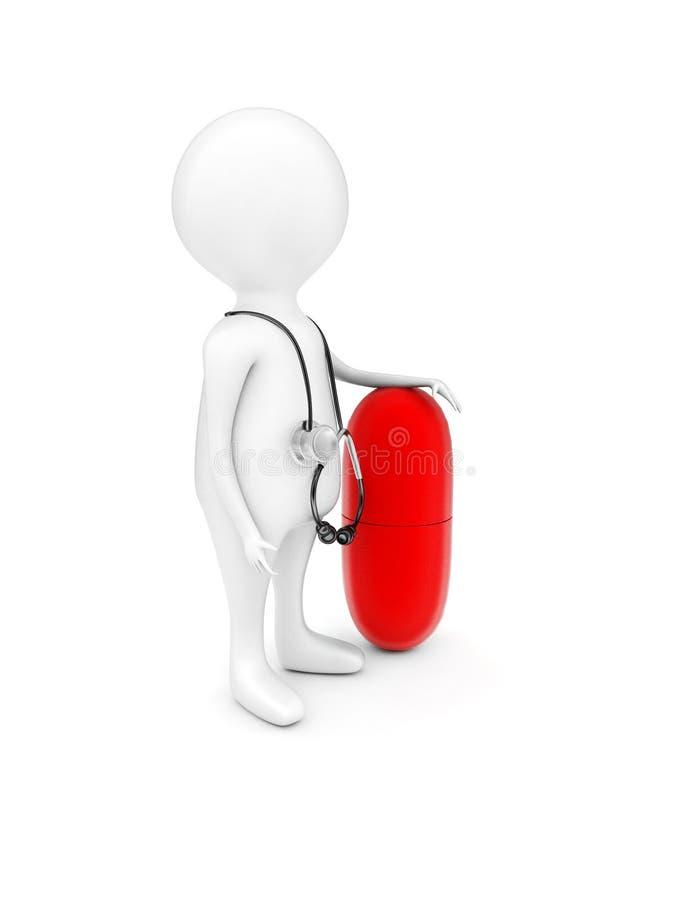 man 3d med stetoskopet på hans skuldra och att framlägga ett stort medicinkapselbegrepp arkivbild