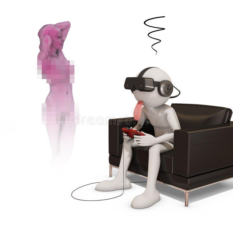 man 3d med virtuell verklighethörlurar med mikrofon som håller ögonen på den faktiska flickan stock illustrationer
